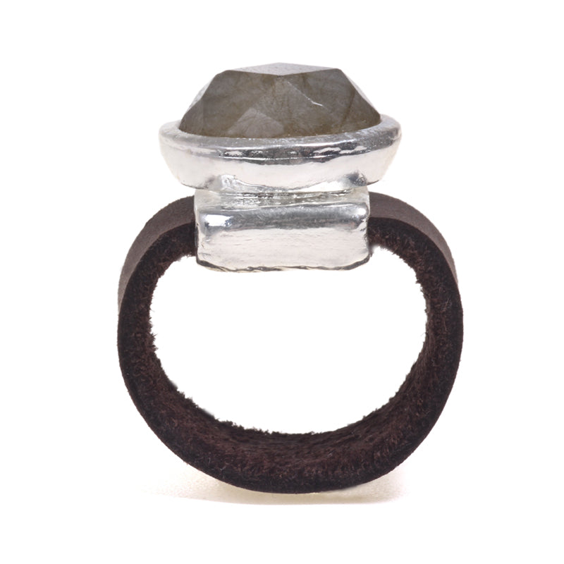 Silver plated Amazonit oval ring - SEA Smadar Eliasaf