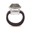 Silver plated Amazonit oval ring