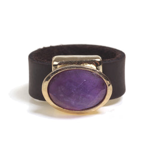 Gold ring with purple semi precious gem - SEA Smadar Eliasaf