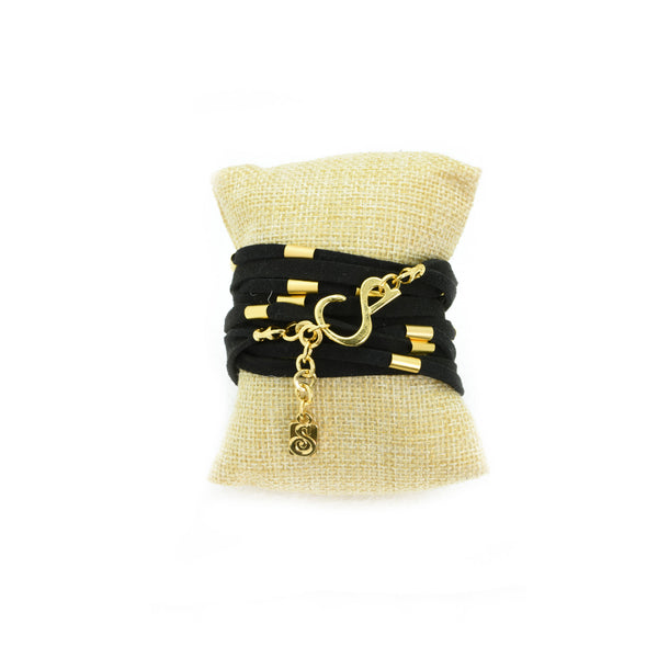 Wrap Around Black Suede Bracelet Necklace - SEA Smadar Eliasaf