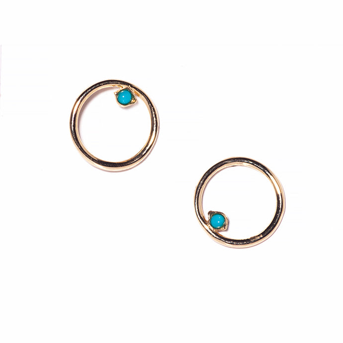 Yellow gold circle earrings with turquoise