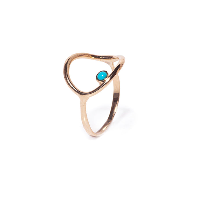 Yellow gold circle ring with turquoise