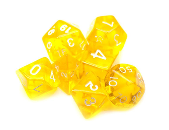 Dados Wiz Dice: Set 7 Dados Translucent Yellow - Deposito de Gnomos