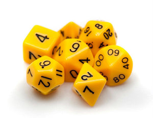 Dados Wiz Dice: Set 7 Dados Opaque Yellow - Deposito de Gnomos