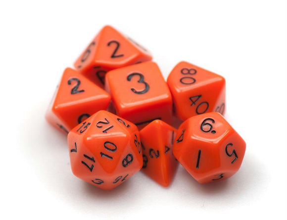 Dados Wiz Dice: Set 7 Dados Opaque Orange - Deposito de Gnomos