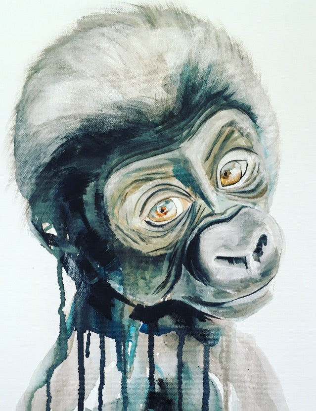 baby gorilla sophie long monkey art