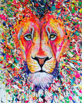 aslan lion painting art colourful rainbow sophie long drips multicolour