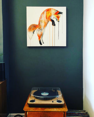 jumping fox art painting sophie long