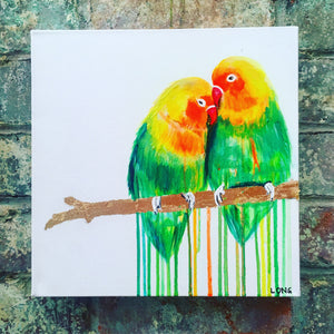 sophie long lovebirds love birds affordable art