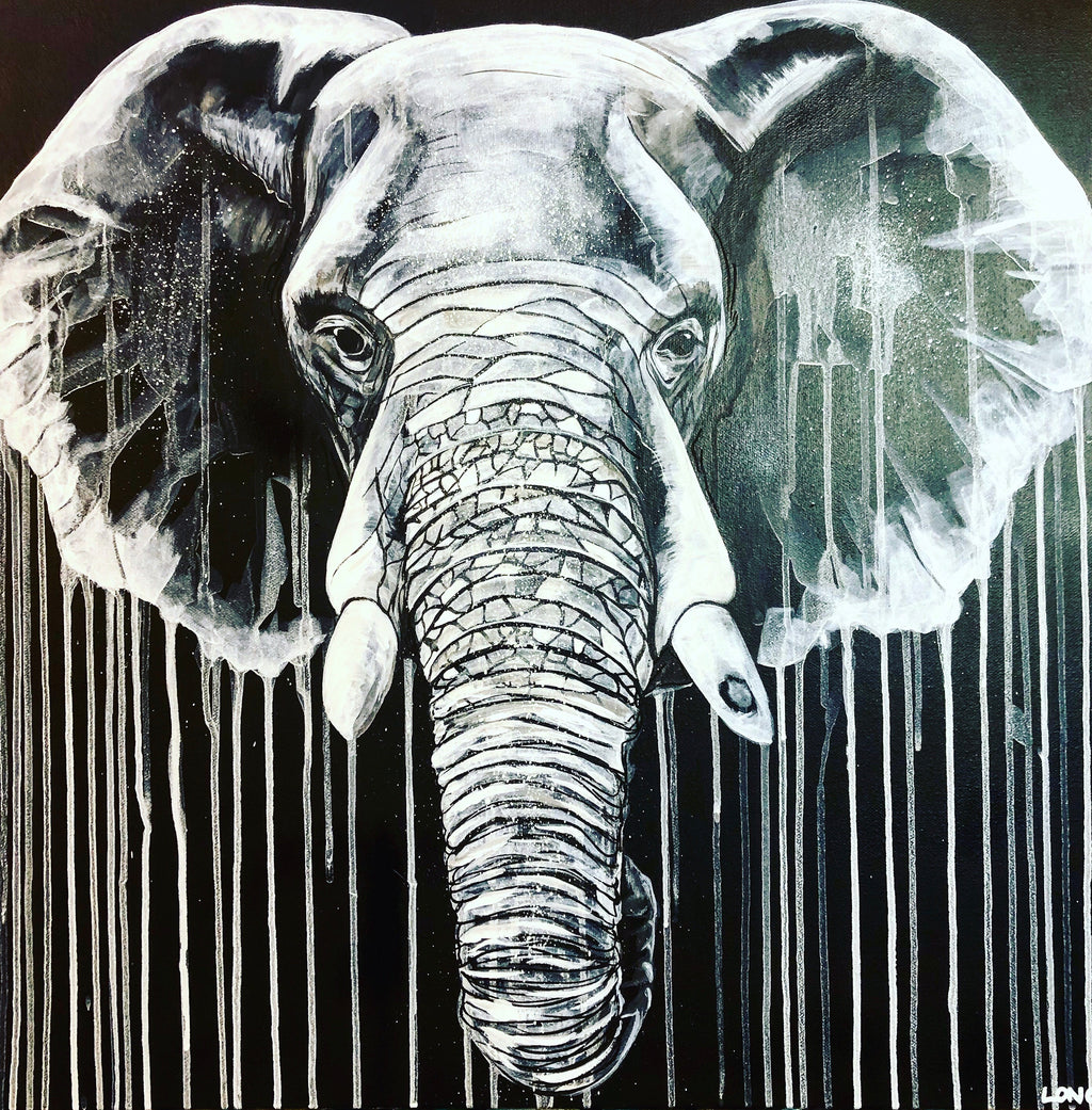 Limited Edition PRINT – WHITE ON BLACK ELEPHANT
