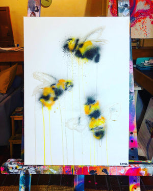 DAY68 #20minuteartchallenge BUSY BEES
