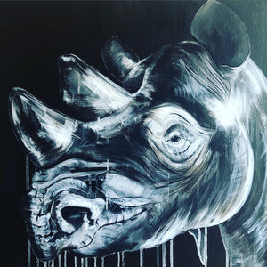 Limited Edition PRINT – WHITE ON BLACK RHINO