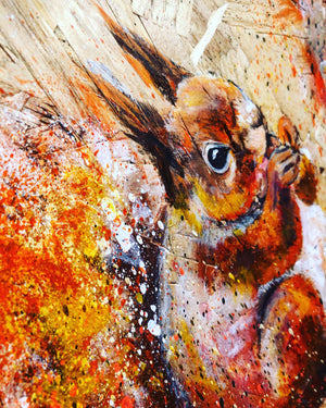 eat leap land repeat squirrel sophie long art on wood spray paint acrylic