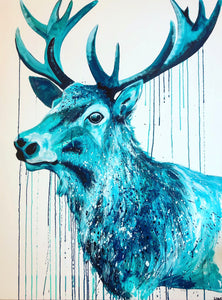 blue stag sophie long art painting