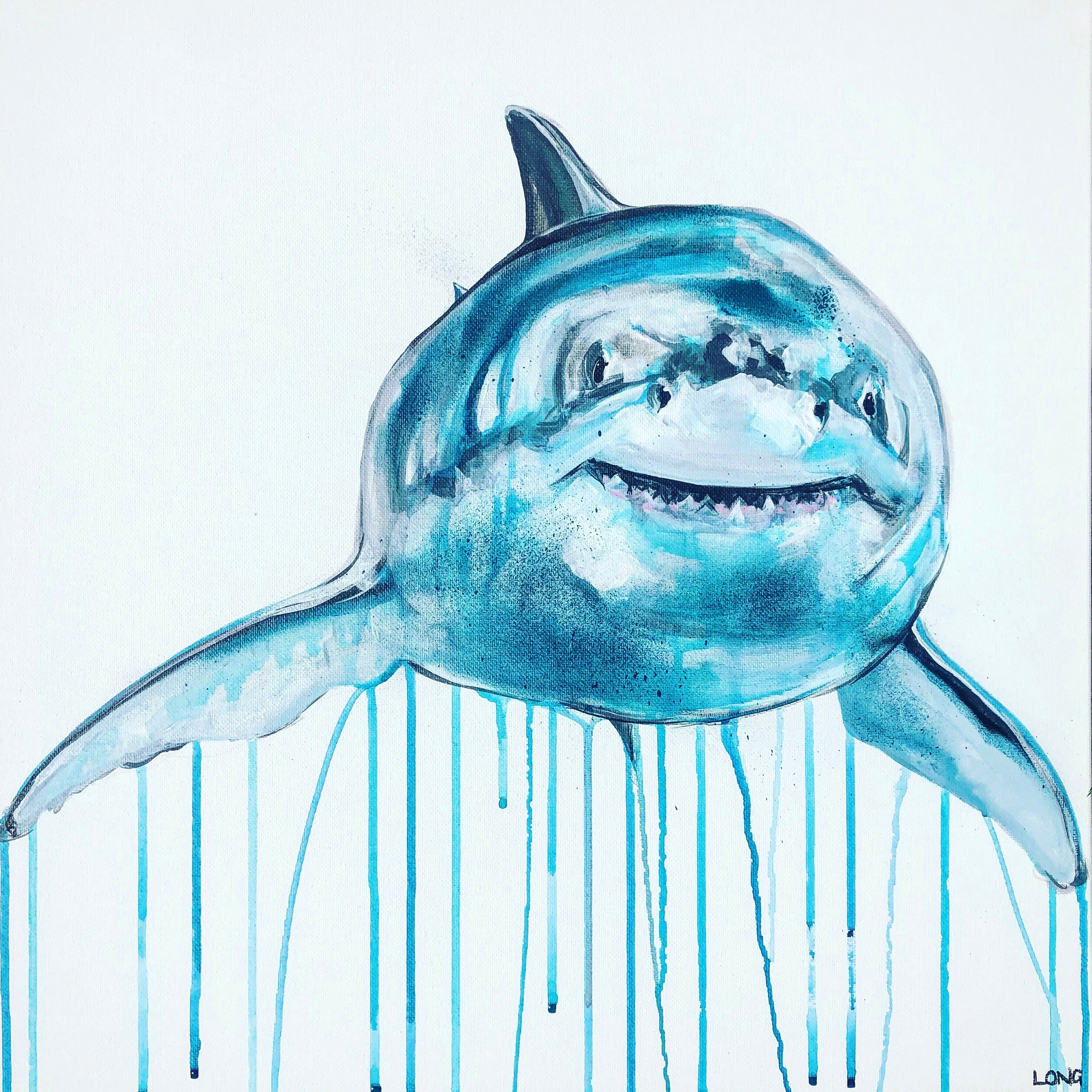 great white shark sophie long art painting