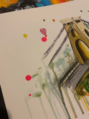 SPLATTERED Limited Edition PRINT – THE CLIFTON SUSPENSION BRIDGE