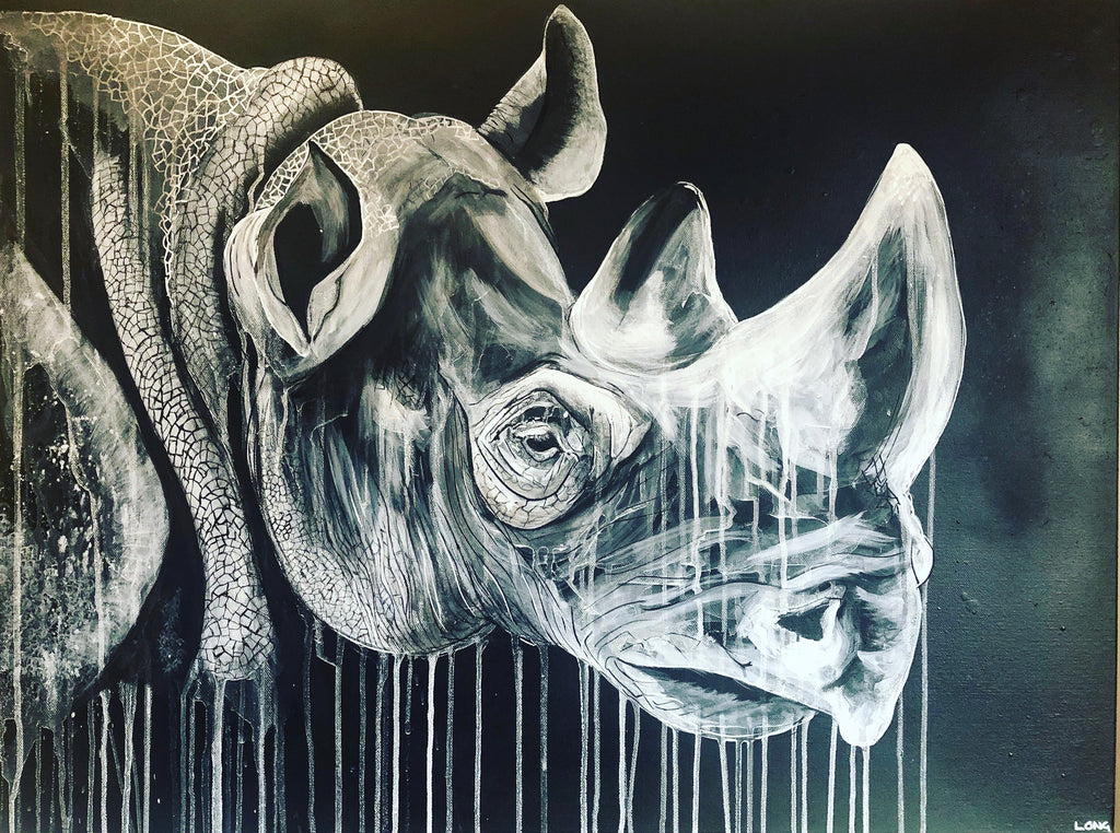 WHITE ON BLACK RHINO