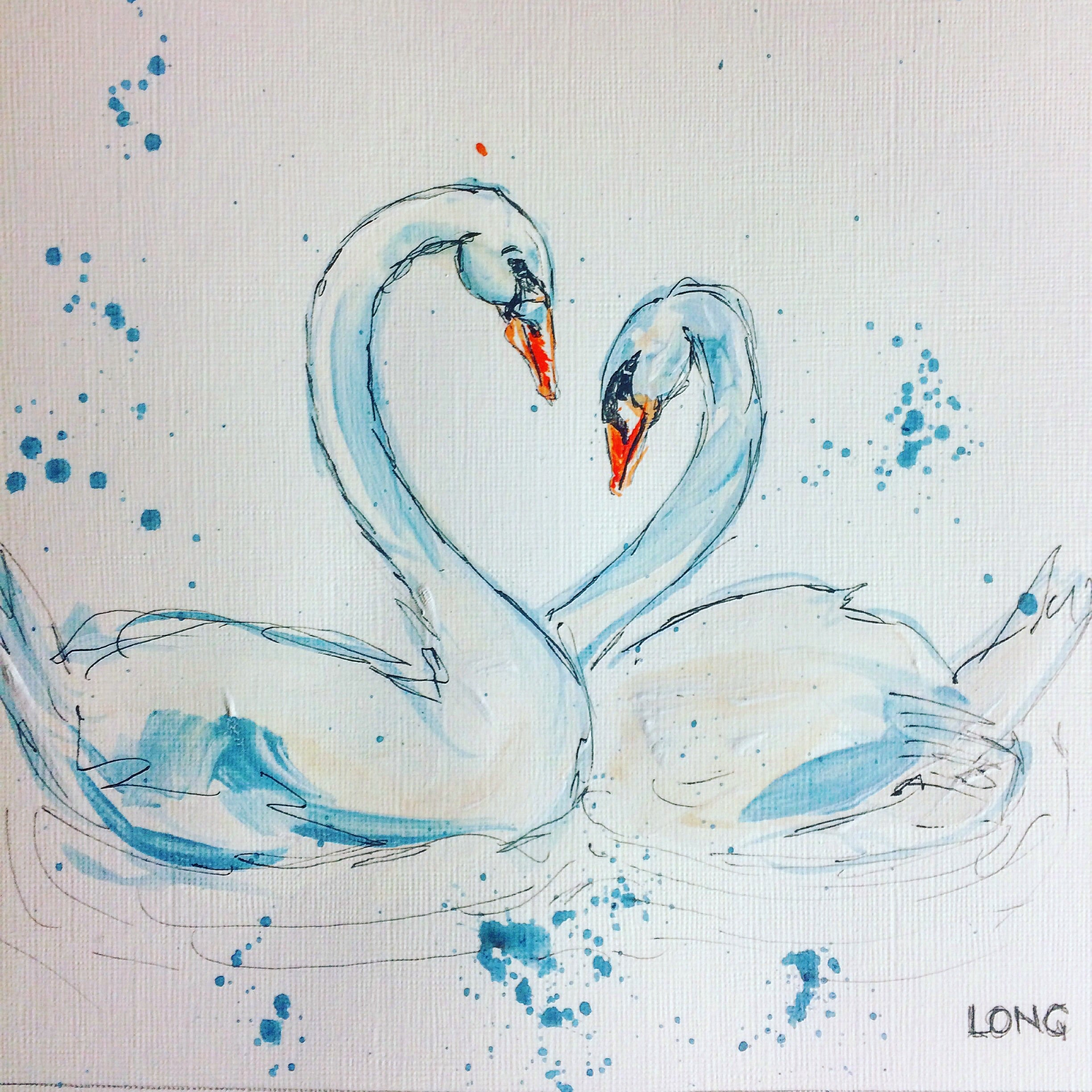 swans in love valentines special affordable art sophie long swan