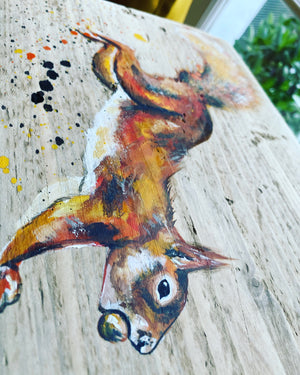 SQUIRREL on scaffolding board - gold chain