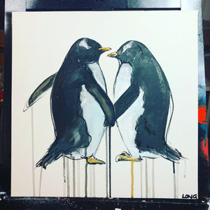 DAY28 #30minuteartchallenge PENGUIN LOVE