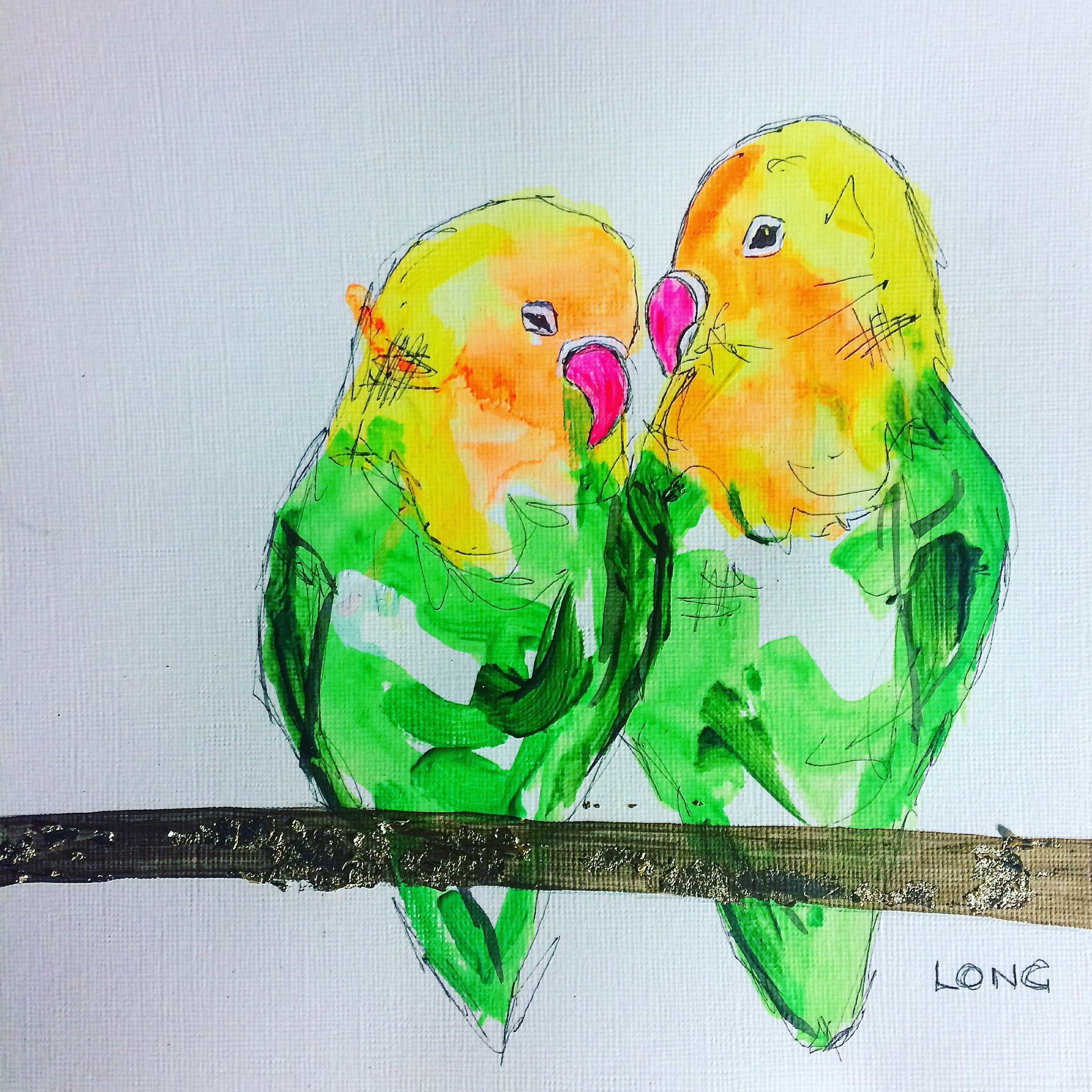 lovebirds love birds sophie long valentines affordable art