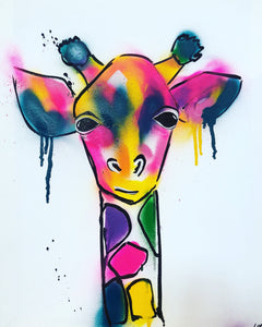 DAY36 #20minuteartchallenge SPRAY PAINT GIRAFFE