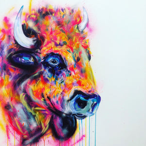 bison animal art sophie long spray paint