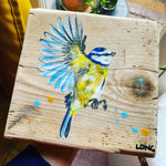 BLUETIT on scaffolding board - gold chain
