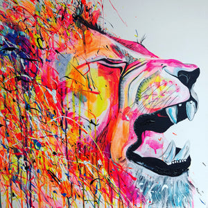 lion rawr animal painting art sophie long