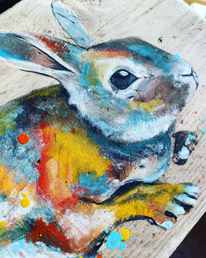 BUNNY on scaffolding board - gold chain