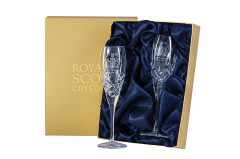 Royal Scot Crystal Pair Flutes to Commemorate Royal Wedding - Harry & Meghan