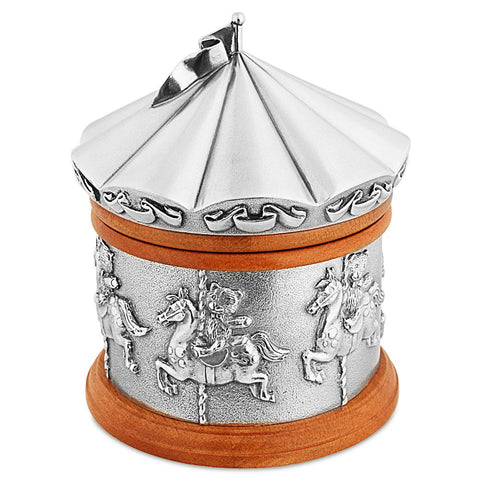 Royal Selangor Pewter Music Box Teddy Bears Merry Go Round Horses Carousel