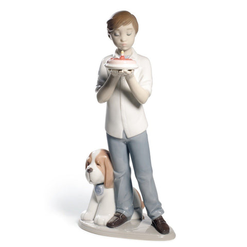 Nao A Birthday Wish (Boy with Dog) - Porcelain Figure