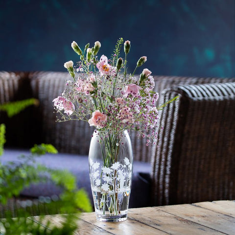 Dartington Crystal Bloom Barrel Vase Aquilegia