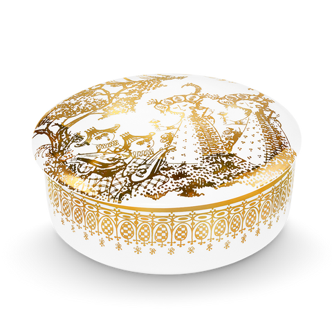 Bjørn Wiinblad Mascarade Gold Trinket Box 16 cm
