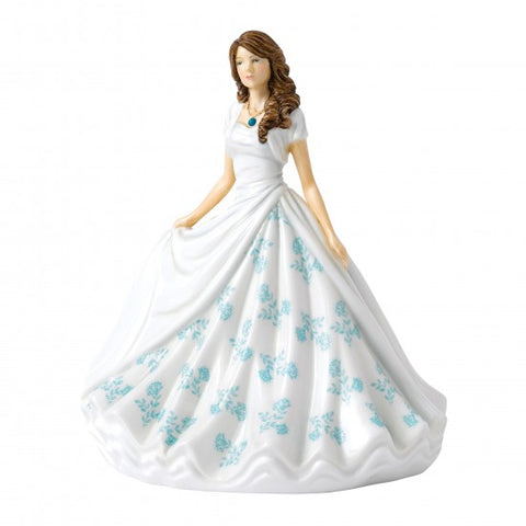 Royal Doulton - Birthstone Petite Lady Figure December, Turquoise