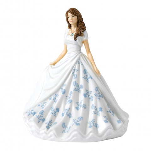 Royal Doulton  - Birthstone Petites Lady Figure March, Aquamarine