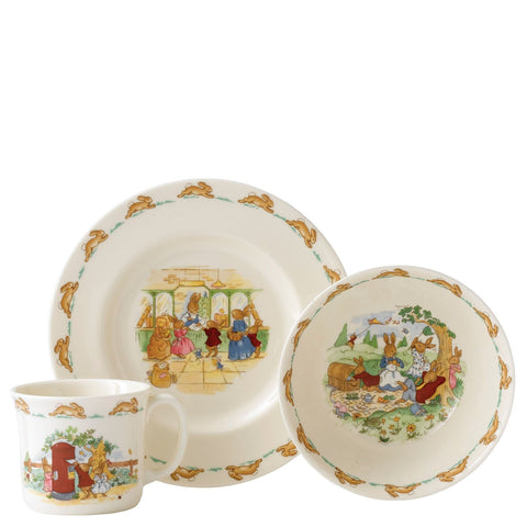 Bunnykins Childrens Set: Plate 20cm, Cereal Bowl & Handled Mug Royal Doulton