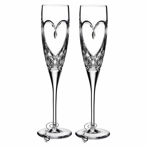 Waterford Love Champagne Flutes True Love Pair