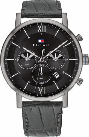 Tommy Hilfiger - Evan - Herreur sort med rem, multi sort skive, 50m - Model: 1710395