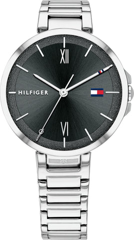 Tommy Hilfiger - Reade - Dameur stål med sort skive og lænke - Model: 1782204