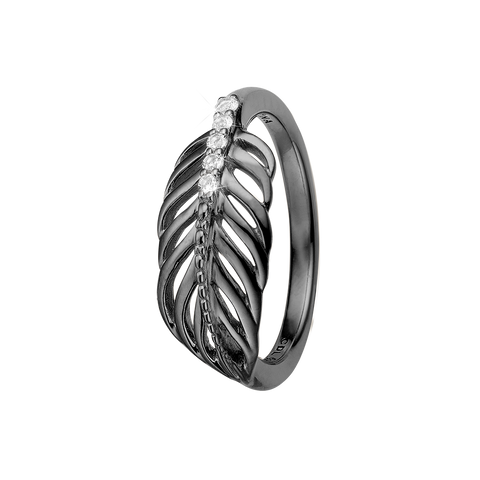 Christina jewelry & watches - Ring, Feather, størrelse 51,  Sort rhodineret sølv - Model: 800-2.15.D