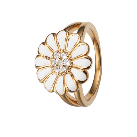 Christina Collect Ring - Topaz big white marguerit, Forgyldt sølv - Modelnr.: 4.6.B