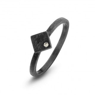 SPIRIT ICONS - GHETTO , RING I SORT RHODINERET SØLVMED DIAMANT - MODEL: 53343-54