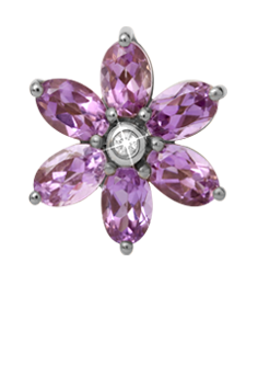 Christina Collect Charm - Big Amethyst Flower, silver - Modelnr.: 650-S04