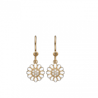 Christina jewelry & watches - White Marguerite Hook ear rings, goldplated - Modelnr.: 670-G12white