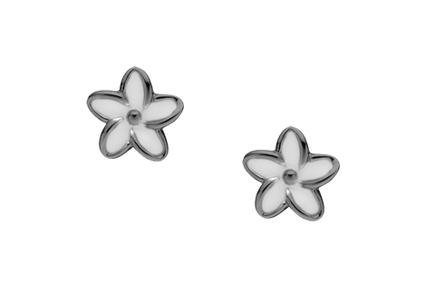 Christina jewelry & watches - Enamel Flowers, studs, black ruth silver - Modelnr.: 671-B02