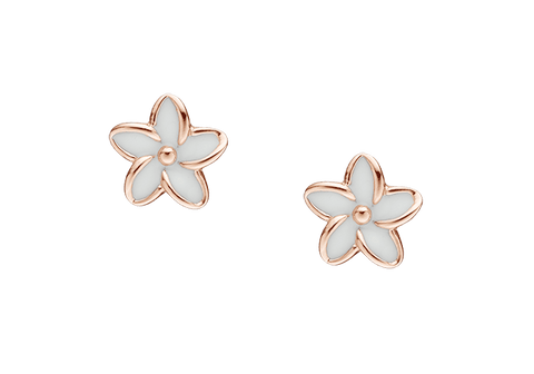 Christina jewelry & watches - Enamel Flowers, studs,rose goldpl silver - Modelnr.: 671-R02