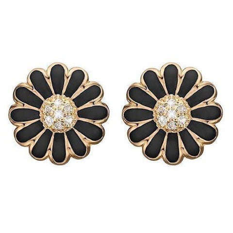Christina jewelry & watches - Ear Clips Black Marguerite 18 mm, goldpl - Modelnr.: 674-G01black