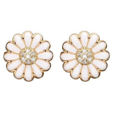 Christina jewelry & watches - Ear Clips White Marguerite 18 mm, goldpl - Modelnr.: 674-G01white